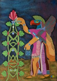 """Apkallu and Sacred Tree"" 2013, 67.9x96.6cm, mixed media with gold decoration on charcoal-laminated paperboard"