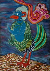 """Garuda"" 2013, 67.9x96.6cm, mixed media with gold decoration on charcoal-laminated paperboard"