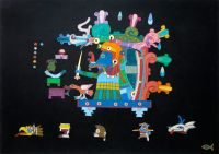 """Tlaloc"" 1997, 96.5x67.7cm, mixed media with gold decoration on charcoal-laminated paperboard"